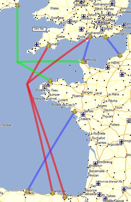 Map Of Uk Ferry Routes.France Spain Gibraltar Ferries And Ports