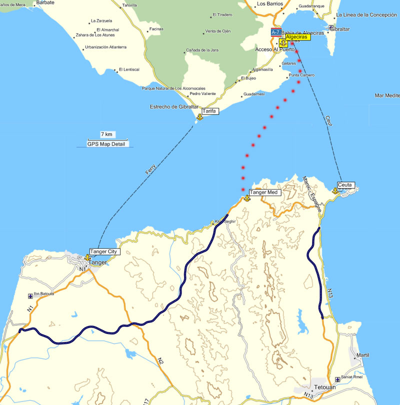 France Spain Gibraltar ferries and ports